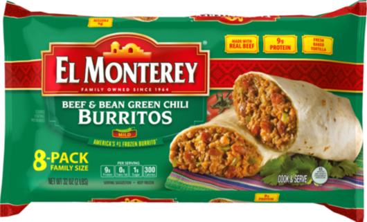 Beef & Bean, Green Chili Burritos - Family Pack